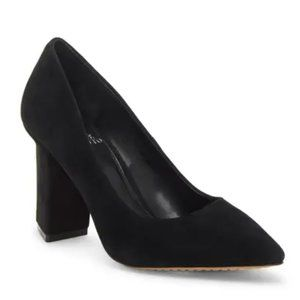 Vince Camuto Black Suede Leather Pointed Toe Pump